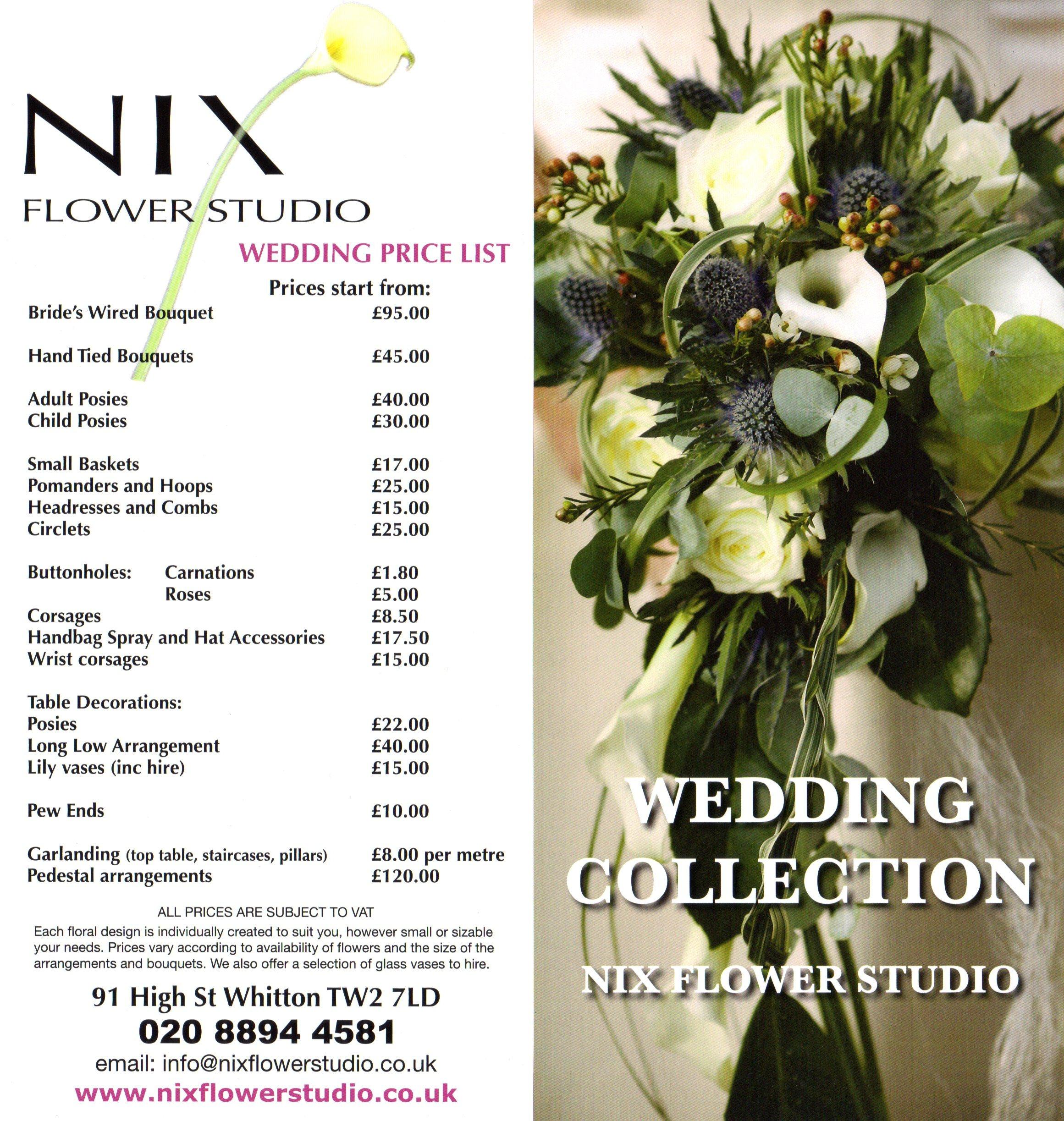 wedding flower price list images. Black Bedroom Furniture Sets. Home Design Ideas